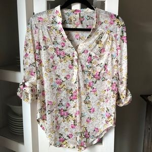 DNA Couture Floral Henley Top Sz M